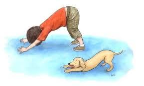dibujo niño y perro postura perro