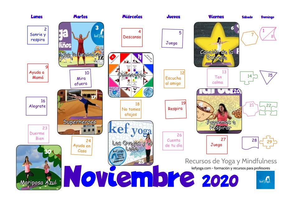 Descarga tu calendario Noviembre 2020 para casa o el aula