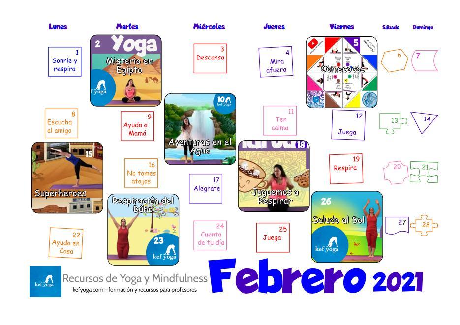 Tu calendario de Yoga infantil para Febrero