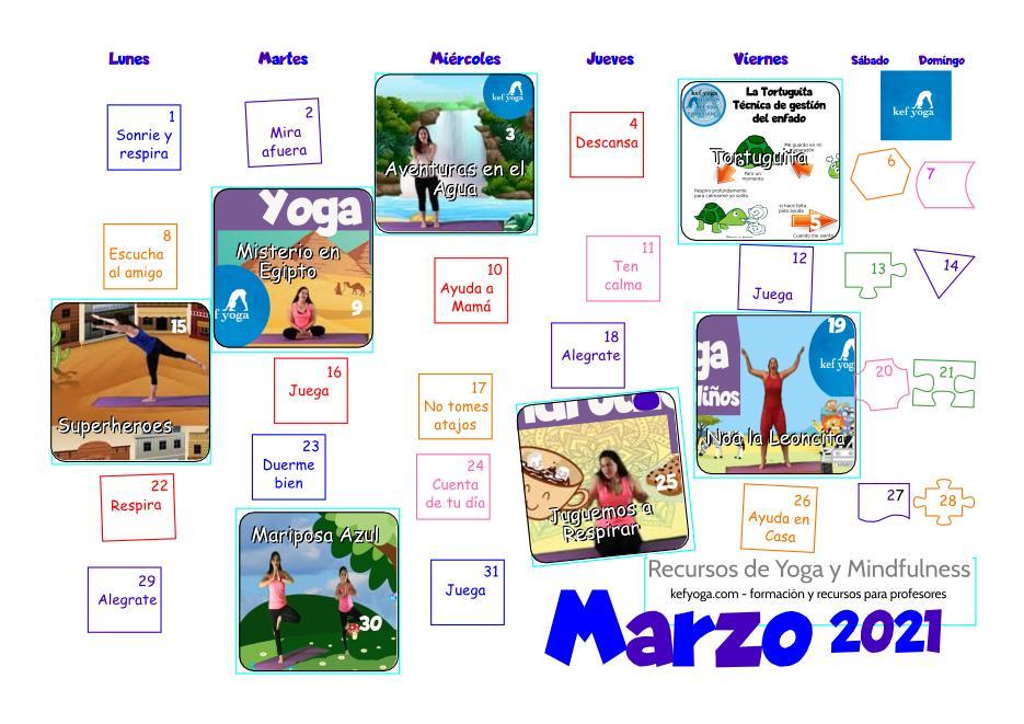 Calendario de Yoga infantil Marzo 2021