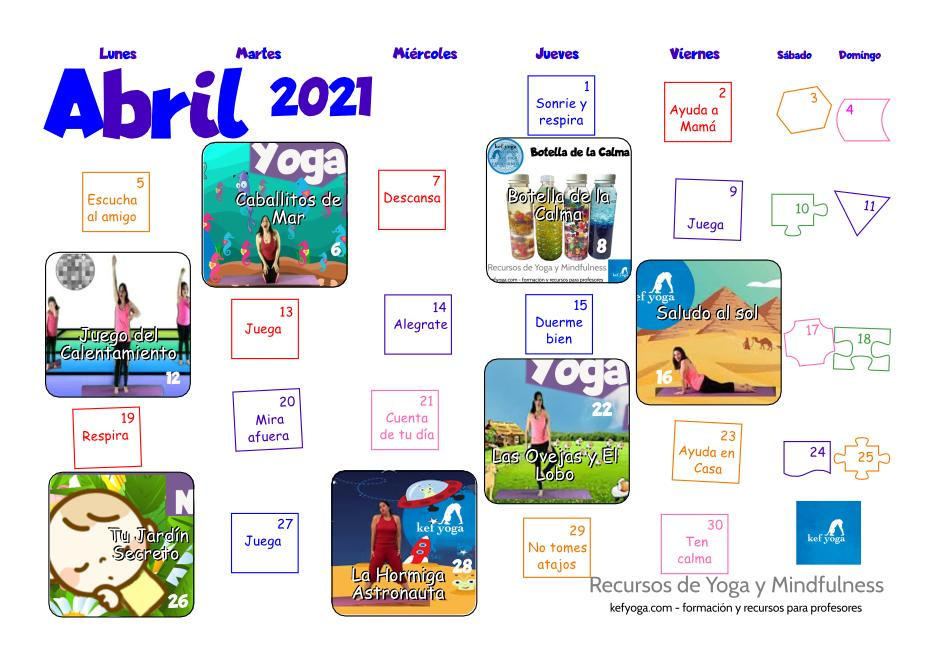 Calendario Kef Yoga Abril 2021