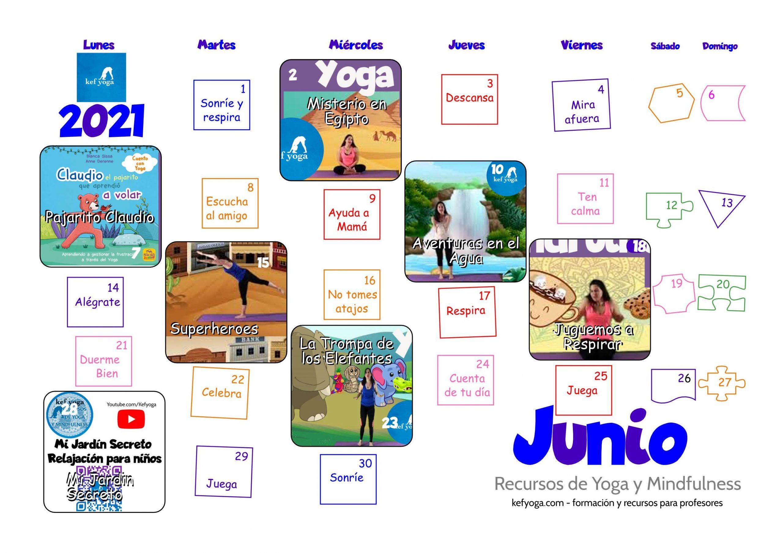 Calendario de Yoga infantil Junio 2021