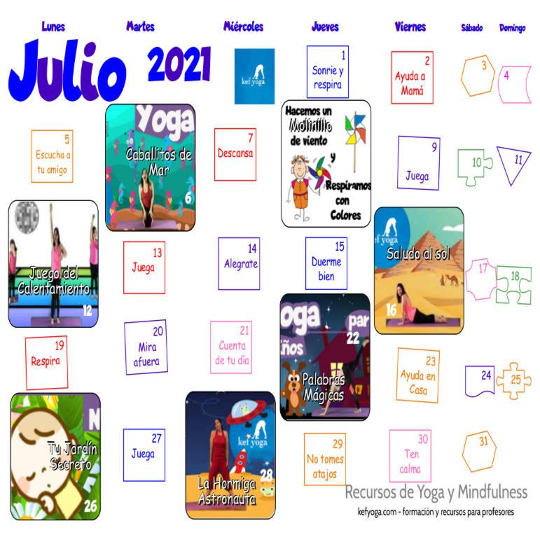 Calendario Kef Yoga julio 2021